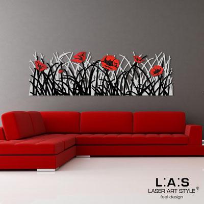 Quadri Floreali </br>  Codice: SI-214   Misura: 180x55 cm </br>  Colore: grigio luce-nero-decoro rosso