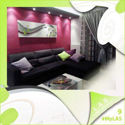 A casa di Andrea e Lara <br> Abitazione privata | Italia  </br> Codice: SI-108-B | Misura: 180x58 cm </br> **PERSONALIZZATO** Colore: bianco - applicazione argento e verde acido
