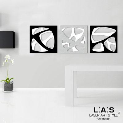 Quadri Astratti </br> Codice: SI-146 | Misura: 3pz 45x45 cm/cad </br> Codice: SI-146L | Misura: 3pz 60x60 cm/cad </br> Colore: bianco/nero-argento-nero