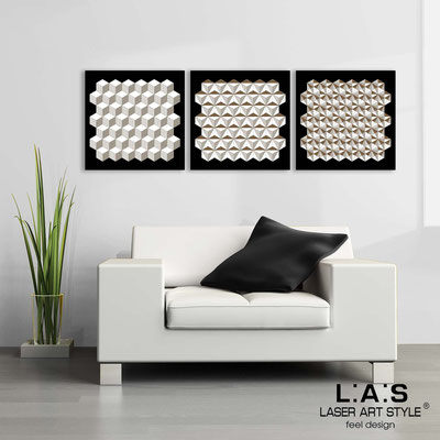 Abstract wall sculptures </br> Code: SI-143 | Size: 3pz 45x45 cm/cad </br> Colour: black-white-wood engraving