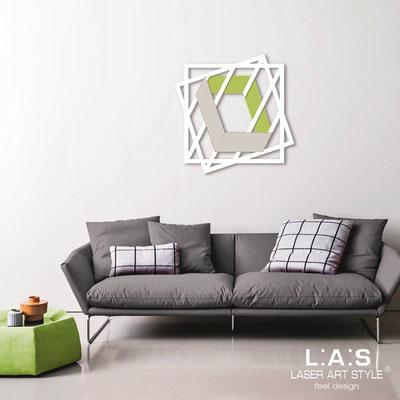 Quadri Astratti </br> Codice: SI-302 | Misura: 85x85 cm </br> Colore: bianco-verde acido-incisione legno