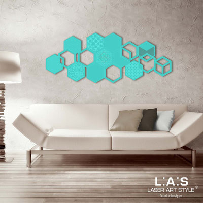 Abstract wall sculptures </br> Code: SI-299 | Size: 150x60 cm </br> Colour: turquoise-matched engraving