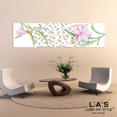 Floral wall sculpture </br> Code: SI-086-B | Size: 148x50 cm </br> Colour: white-pink decoration-matched engraving