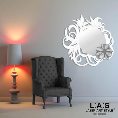 Specchiere </br> Codice: SI-298 | Misura: 95x95 cm </br>  Colore: bianco-decoro grigio-incisione tono su tono