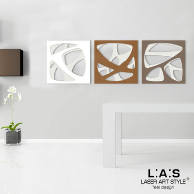 Abstract wall sculptures </br> Code: SI-146 | Size: 3pz 45x45 cm/cad </br> Code: SI-146L | Size: 3pz 60x60 cm/cad </br> Colour: cream/white-bronze-dove grey