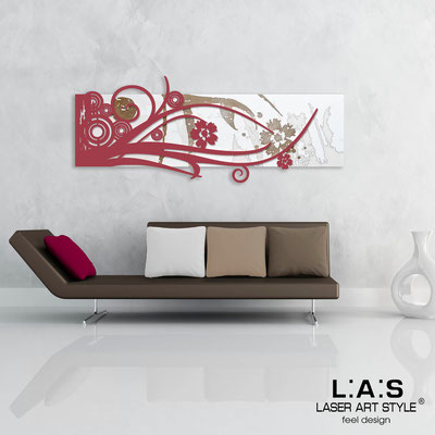 Abstract wall sculptures </br> Code: SI-106 | Size: 148x60 cm </br> Colour: white-violet red-wood engraving