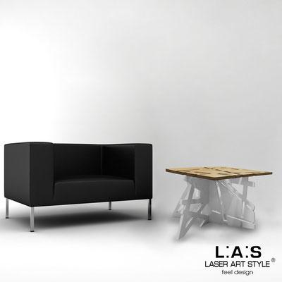 Complementi d'arredo </br> Codice: MW-294 | Misura: 60x60 h40 cm </br> Colore: natural wood-grigio luce-acciaio inox-incisione legno