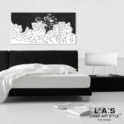Floral wall sculpture </br> Code: SI-163 | Size: 180x90 cm </br> Colour: black stucco decoration-white