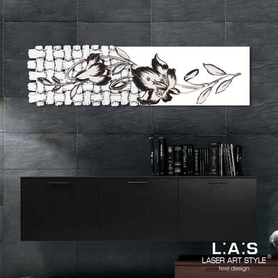 Quadri Floreali </br>  Codice: SI-075-B   Misura: 148x50 cm </br>  Colore: bianco-decoro nero-incisione legno