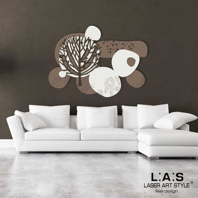 Floral wall sculpture </br> Code: SI-272 | Size: 120x90 cm </br> Colour: dove grey-cream-brown