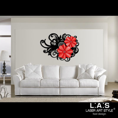 Floral wall sculpture </br> Code: SI-100 | Size: 150x100 cm </br> Code: SI-100M | Size: 100x67 cm </br> Colour: black-red decoration-matched engraving