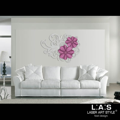 Floral wall sculpture </br> Code: SI-100 | Size: 150x100 cm </br> Code: SI-100M | Size: 100x67 cm </br> Colour: silver-prune decoration-matched engraving