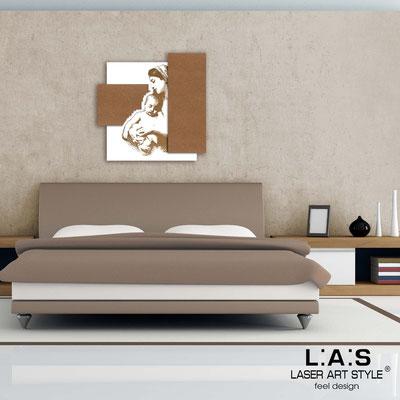 Quadri Sacri </br> Codice:  SI-161 | Misura: 60x60 cm </br>  Colore: bianco-bronzo-incisione legno