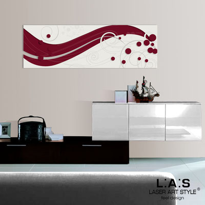 Abstract wall sculptures </br> Code: SI-108-B | Size: 180x58 cm </br> Colour: burgundy-cream-wood engraving