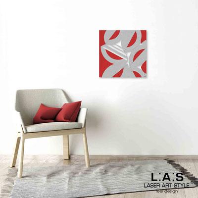 Quarantotto </br>  Codice: Q-017 | Misura: 48x48 cm </br> Colore: decoro grigio-rosso-incisione legno