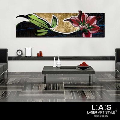 Quadri Floreali </br>  Codice: SI-074-B   Misura: 180x65 cm </br>  Colore: nero-foglia oro-decoro multicolor-incisione tono su tono
