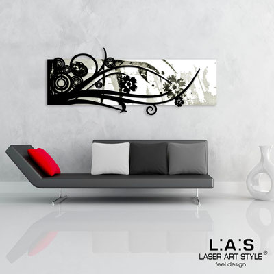 Abstract wall sculptures </br> Code: SI-106 | Size: 148x60 cm </br> Colour: white-black-black engraving