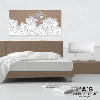 Quadri Floreali </br>  Codice: SI-163   Misura: 180x90 cm </br>  Colore: decoro stucco nocciola-bianco