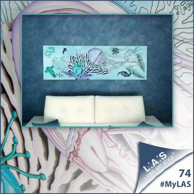A casa di Daniela e Salvatore <br> Abitazione privata | Italia </br> Codice: SI-129 | Misura: 180x60 cm </br> Colore: bianco - decoro azzurro
