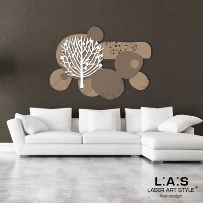 Floral wall sculpture </br> Code: SI-272 | Size: 120x90 cm </br> Colour: hazel-dove grey-white