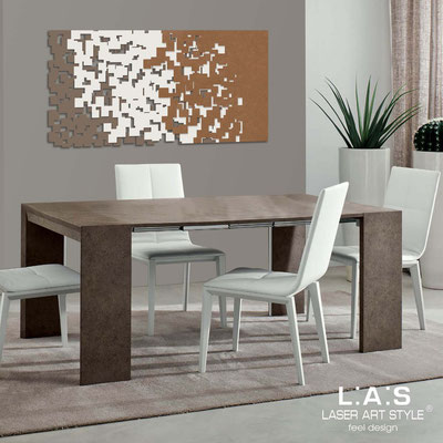 Abstract wall sculptures </br> Code: SI-125 | Size: 150x75 cm </br> Code: SI-125M | Size: 100x50 cm </br> Colour: dove grey-cream-bronze