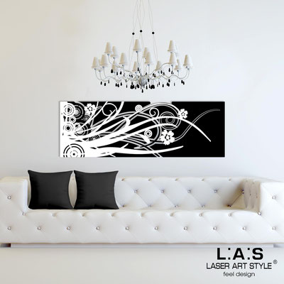 Abstract wall sculptures </br> Code: SI-107-B | Size: 148x50 cm </br> Colour: black-white