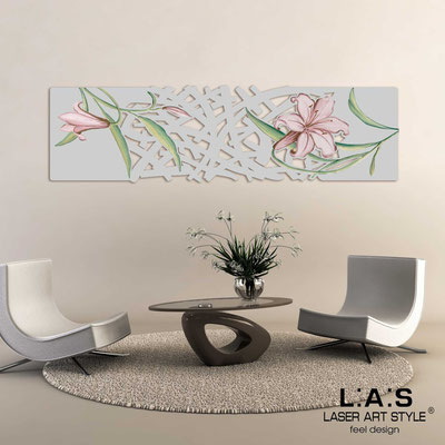 Floral wall sculpture </br> Code: SI-086-B | Size: 148x50 cm </br> Colour: light grey-rusty colour decoration-matched engraving