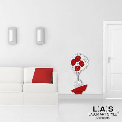 Quadri Floreali </br>  Codice: SI-181-A | Misura: 56x124 cm </br>  Colore: rosso-decoro rosso-incisione legno