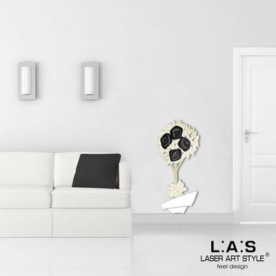 Quadri Floreali </br>  Codice: SI-181-A | Misura: 56x124 cm </br>  Colore: bianco-decoro nero-incisione legno