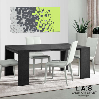 Abstract wall sculptures </br> Code: SI-125 | Size: 150x75 cm </br> Code: SI-125M | Size: 100x50 cm </br> Colour: light grey-charcoal grey-lime