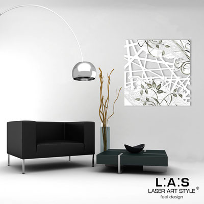 Abstract wall sculptures </br> Code: SI-110Q | Size: 90x90 cm </br> Colour: white-black engraving
