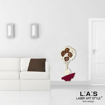 Quadri Floreali </br>  Codice: SI-181-A | Misura: 56x124 cm </br>  Colore: bordeaux-decoro marrone-incisione legno