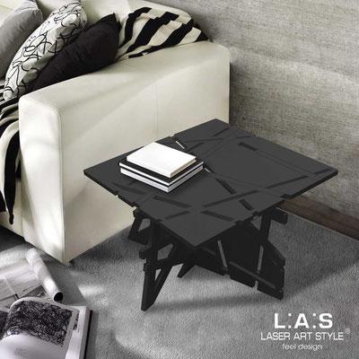 Complementi d'arredo </br> Codice: SI-294 | Misura: 60x60 h40 cm </br> Colore: nero-acciaio inox-incisione tono su tono