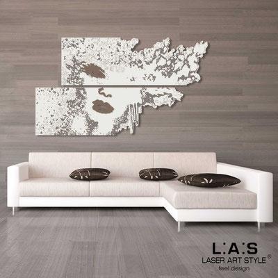 Figurative wall sculpture </br> Code: SI-156 | Size: 2pz 210x120 cm </br> Colour: cream-dove grey-wood engraving