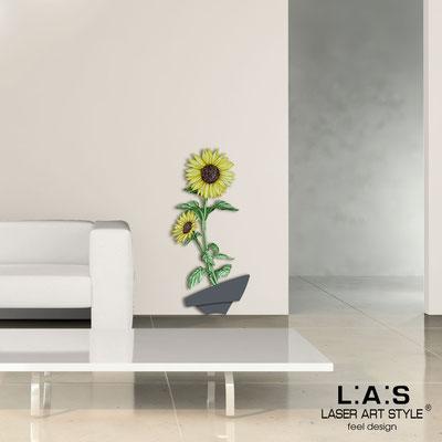 Quadri Floreali </br>  Codice: SI-179-A   Misura: 54x122 cm </br>  Colore: antracite-decoro giallo-incisione legno