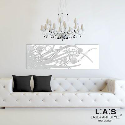 Quadri Astratti </br> Codice: SI-107-B | Misura: 148x50 cm </br> Colore: bianco-argento