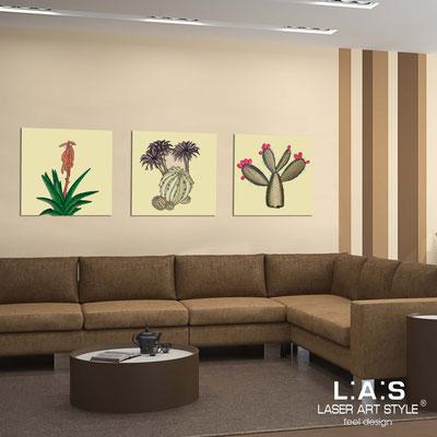 Quadri Floreali </br>  Codice: SI-127   Misura: 3pz 45x45 cm/cad </br>  Colore: sabbia-decoro verdone-incisione legno