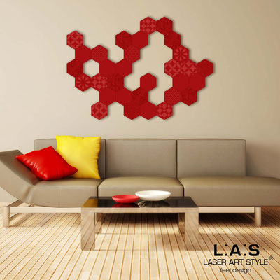 Abstract wall sculptures </br> Code: SI-301 | Size: 125x90 cm </br> Colour: red-matched engraving