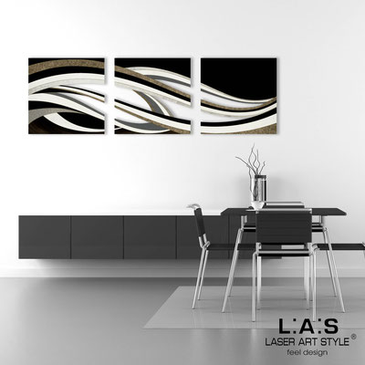 Abstract wall sculptures </br> Code: SI-114A | Size: 3pz 60x60 cm/cad </br> Colour: black decoration-wood engraving