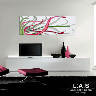 Abstract wall sculptures </br> Code: SI-113 | Size: 150x50 cm </br> Colour: white-magenta decoration-matched engraving
