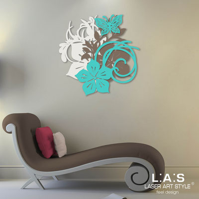 Floral wall sculpture </br> Code: SI-200 | Size: 65x65 cm </br> Code: SI-200L | Size: 90x90 cm </br> Colour: cream-dove grey-turquoise