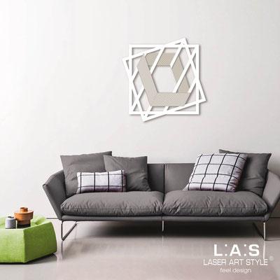 Quadri Astratti </br> Codice: SI-302 | Misura: 85x85 cm </br> Colore: bianco-panna-incisione legno