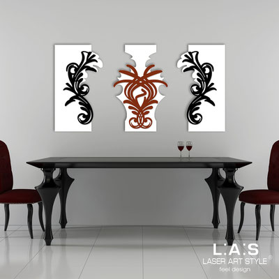 Abstract wall sculptures </br> Code: SI-251 | Size: 150x87 cm </br> Colour: white/black-brick red-black