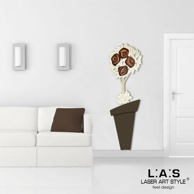 Quadri Floreali </br>  Codice: SI-181-B   Misura: 56x180 cm </br>  Colore: marrone-decoro marrone-incisione legno