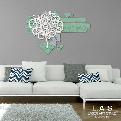 Floral wall sculpture </br> Code: SI-355 | Size: 150x100 cm </br> Colour: sage-concrete grey-cream