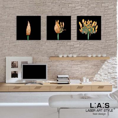 Quadri Floreali </br>  Codice: SI-101   Misura: 3pz 45x45 cm/cad </br>  Colore: nero-decoro toni caldi-incisione legno