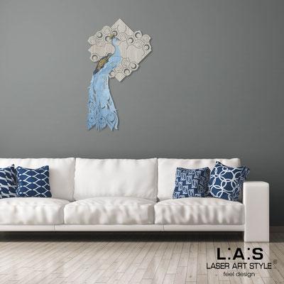 Figurative wall sculpture </br> Code: G-336M | Size: 70x120 cm </br> Colour: grey wood-bluette decoration-wood engraving