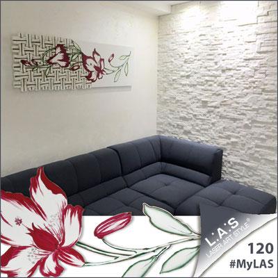 A casa di Rosaria e Vincenzo | Italia </br> Codice Floreale: SI-075-B | Misura: 148x50 cm </br> Colore: bianco - decoro amarena - incisione legno
