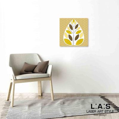 Quarantotto </br>  Codice: Q-007 | Misura: 48x48 cm </br> Colore: decoro senape-incisione legno