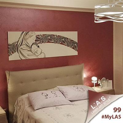 A casa di Maria <br> Abitazione privata | Italia </br> Codice: SI-234 | Misura: 180x60 cm <br> Colore: bianco-argento/decoro nero